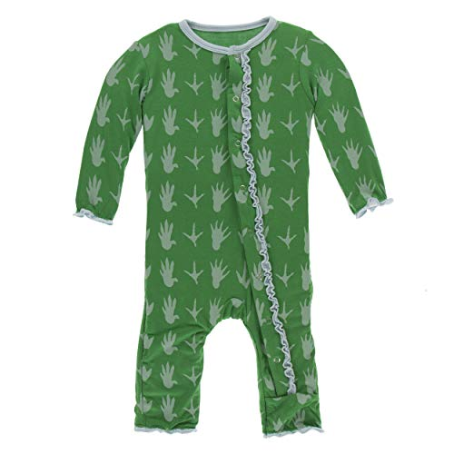Kickee Pants Little Girls Print Muffin Ruffle Coverall with Snaps - Dino Tracks, 3-6 Months