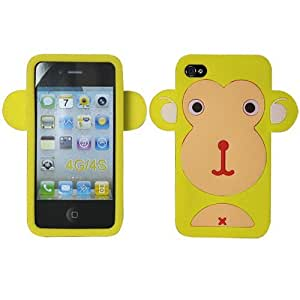 Yellow Baby Monkey Silicon Soft Rubber Skin Case Cover For Apple iPhone 4 4S with Free Pouch by paywork