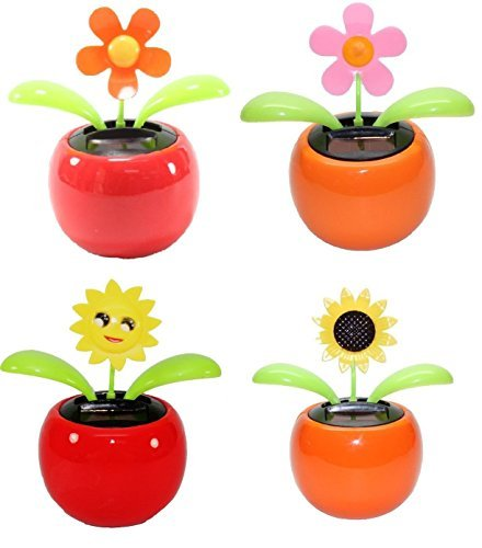 4 Eco-friendly Solar Dancing Flowers in Colorful Pots. Decoration Gift. No battery required (1 Orange Daisy, 1 Pink Daisy, 1 Red Flower, 1 Yellow Sunflower)