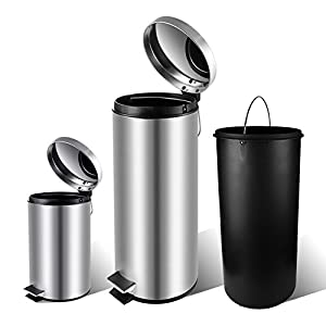 3 Piece Round stainless steel trash can with lid,Fingerprints Proof for Kitchen,Stainless Steel,Removable Inner Wastebasket 8 & 1.3 & 0.8 Gallon