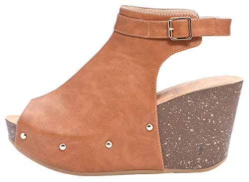 Cambridge Select Women's Peep Toe Buckle Ankle Strap Studded Platform Wedge Sandal (9 B(M) US, Tan) ()