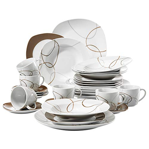VEWEET 30-Piece Ceramic Tableware Set Brown Lines Patterns Kitchen Dinner Sets with Dinner Plate, Soup Plate, Dessert Plate, Saucer and Mug, Service for 6 (Nikita ()
