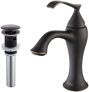 Kraus KEF-15001-PU16ORB Ventus Single Lever Basin Bathroom Faucet and Pop Up Drain with Overflow Oil Rubbed Bronze