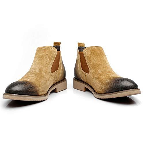 Stivali Chelsea Boots Brown E Autunno Pelle Nero Martin Inverno Sicurezza Matrimonio Classico Retro Brogue Uomo Stivaletti qRC6rwaq