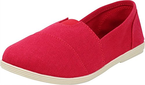 Espadrille Canvas Red - Cambridge Select Women's Memory Foam Comfort Canvas Slip On Flats (8 B(M) US, Red Linen)