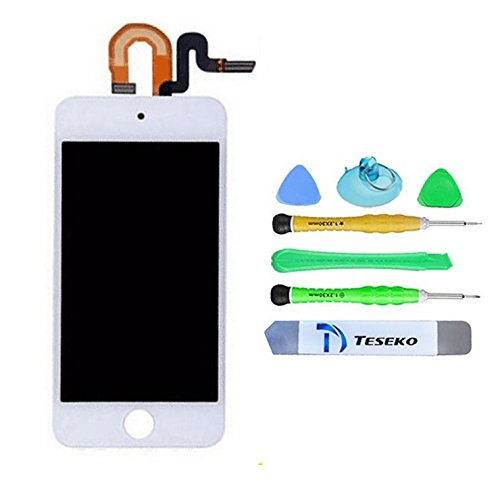 Teseko iPod Touch 5th Gen Display Assembly,white for LCD Screen Replacement Front Glass Digitizer + LCD Full Assembly + repair Tool Kit