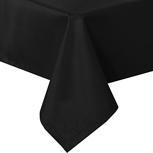 SUO AI TEXTILE Solid Oxford Tablecloths Rectangular Water Resistant Stain Free Tablecloth for Dining Room 54 by 108 Inch Black ()