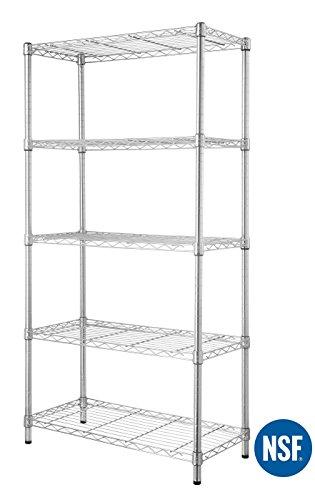 - eeZe Rack ETI-006-P 5-Tier HEAVY DUTY Steel Wire Chrome Shelving, Storage Rack, NSF CERTIFIED, 30x14x60-inches (Chrome) (NEW)