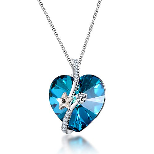 ZIOZIA Necklaces for Women Made with Swarovski Crystal Star Blue Heart Pendant Kids Fine Jewelry for Girls