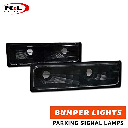 R&L Racing Black Clear Signal Bumper Lights Lamps YD 1988-2000 for Chevy GMC C10 C/K Truck/SUV