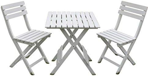 Set Bistro de jardín Dover de madera blanca - Mesa de jardín ...