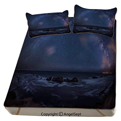 Space,Summer Cooling Mat 3D Printing Foldable Folding Summer Ice Silk Cover Cool Mat with Pillowcase(Queen) Massive Milky Way over the Sea Appears to Be a Dark Matter Halo Spread Out in Solar Center
