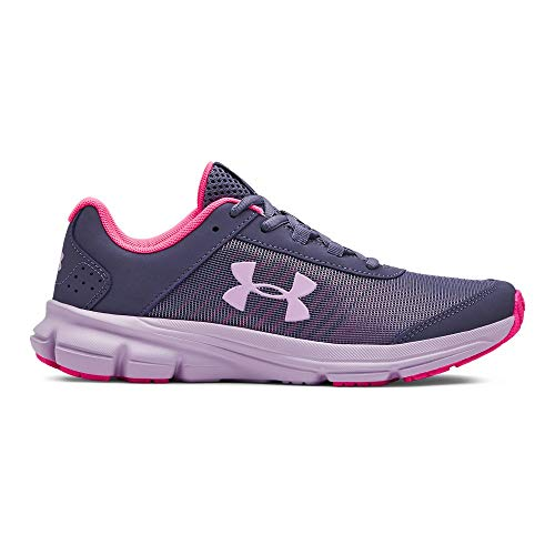 Under Armour Girls' Grade School Rave 2 Print Sneaker, 500/Purple Luxe, 6 M US Big Kid