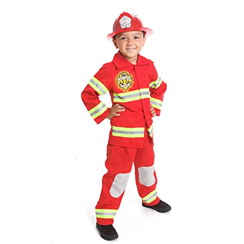Fire Fighter Costume Light up Patch on Chest Kids W/Hat Fire Man S M 4-6 -8 (M 6-8) Red -