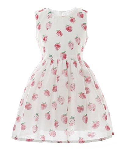 CIELARKO Girls Dress Strawberry Printed Children Dresses (1-2 Years) -