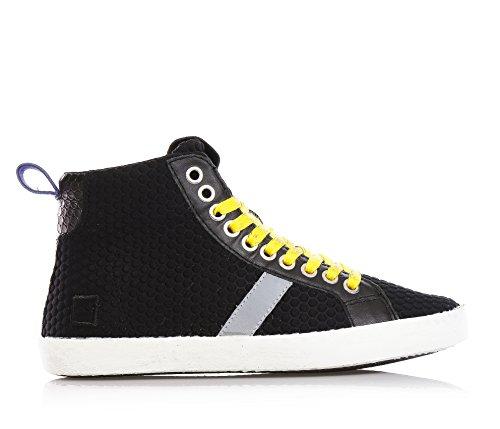 D.A.T.E. - Schwarze Sneakers mit Schnürsenkel, aus Synthetik und Leder, seitlich ein Reißverschluss, Jungen