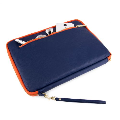 Fitting Blue Netbook - VanGoddy Sleeve for 8.9 to 10.1 inch devices (Midnight Blue with Orange trim)