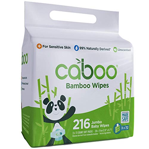 Caboo Tree-Free Bamboo Baby Wipes, Eco-Friendly Naturally Derived Baby Wipes for Sensitive Skin, 3 Resealable Peel Tab Travel Packs, 72 Wipes Per Pack, Total of 216 Wipes