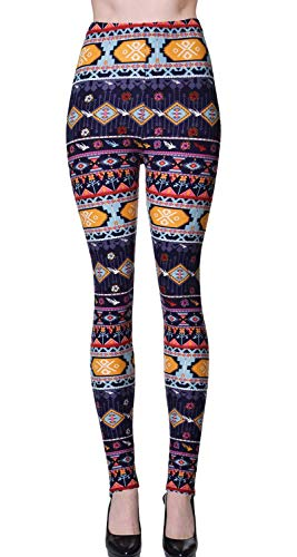 VIV Collection Plus Size Printed Brushed Ultra Soft Leggings (Patterned Strings) ()