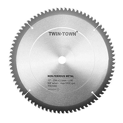 (TWIN-TOWN 10-Inch 80 Tooth TCG Aluminum and Non-Ferrous Metal Saw Blade with 5/8-Inch Arbor )