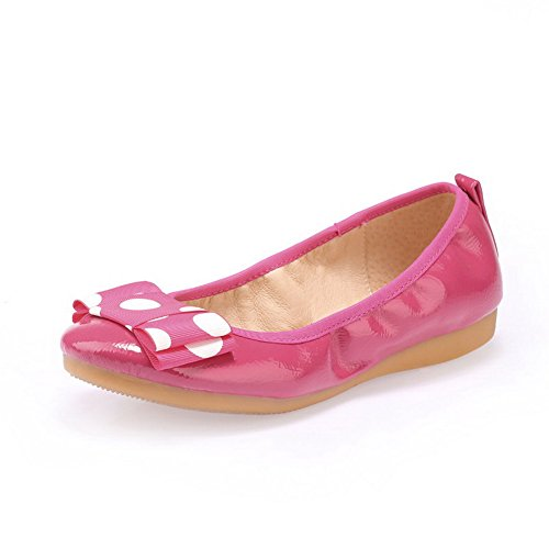 AllhqFashion Damen Ziehen auf Rund Zehe Niedriger Absatz Blend-Materialien Rein Pumps Schuhe Rosa