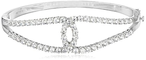 Rhodium Plated Sterling Silver Cubic Zirconia 3mm Crossover Hinged Bangle (Crossover Bangle Bracelet)