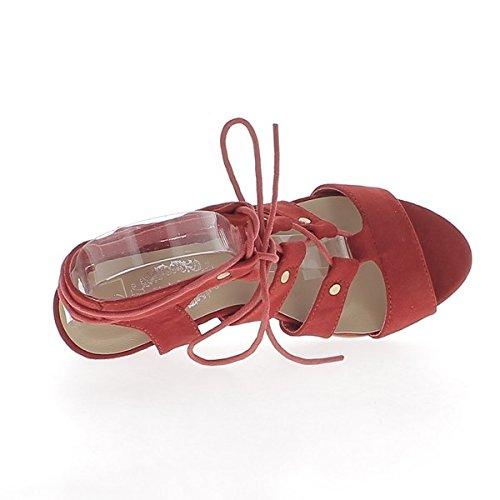 Red wedge Sandali con tacchi di 7cm guardare cinghie e lacci in camoscio