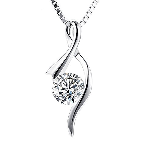 S925 Sterling Silver Women Girl Pendant CZ Gemini Necklace