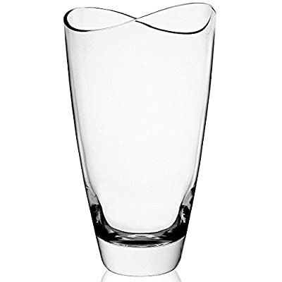 KROSNO Swoop Vase, Handmade, 9-inch high - Tall, decorative glass vase with modern design and swooped rim Thick sham and smooth sides Polished, flat-slanted cut rim - vases, kitchen-dining-room-decor, kitchen-dining-room - 41HIJ9jK3LL. SS400  -