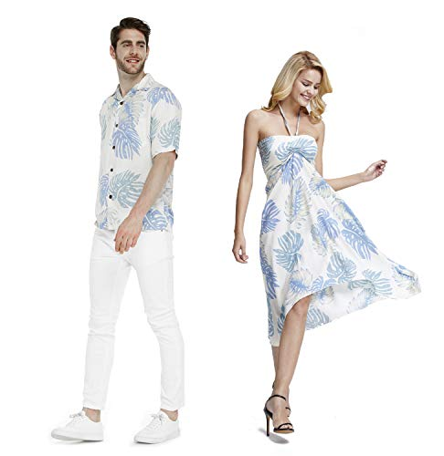 Couple Matching Hawaiian Luau Party Outfit Set Shirt Dress in White Palm Leaves Men XL Women L]()