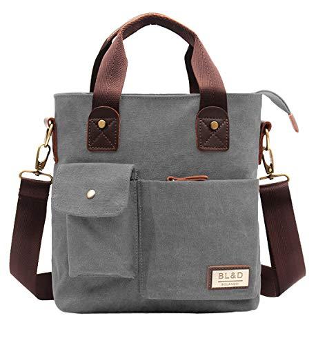 Degohome Canvas Top Handle Satchel Handbags Tote Purse Shoulder Bag For Women & Man(GrayColor)