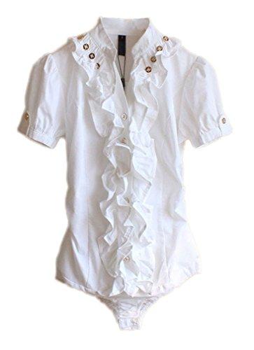 Bouton Ruché Volantée Col Des Femmes Soojun Chemises Bodysuit Manches Longues # 2 Blanc (manches Courtes)