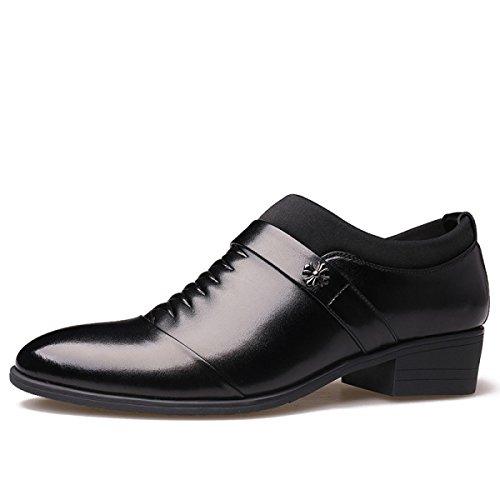 GRRONG Chaussures En Cuir Pour Hommes D'affaires Loisirs Noir Brown Black hMtRq