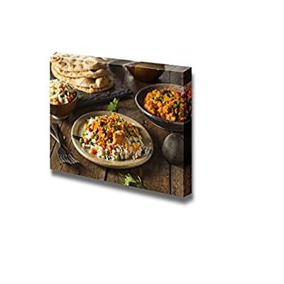 Canvas Prints Wall Art - Homemade Chicken Tikka Masala with Rice and Naan - 12