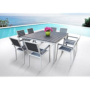 outdoor patio furniture new aluminum resin piece square dining table chairs set rattan garden and 6 ga