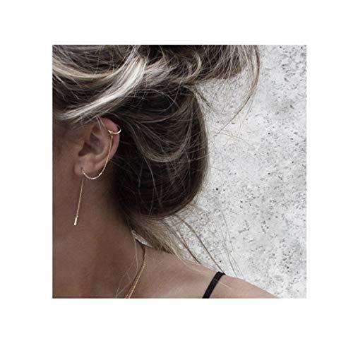 Yellow Earrings Cuff - FarryDream 925 Sterling Silver Cuff Chain Earrings Wrap Tassel Earrings for Women (Yellow Gold)