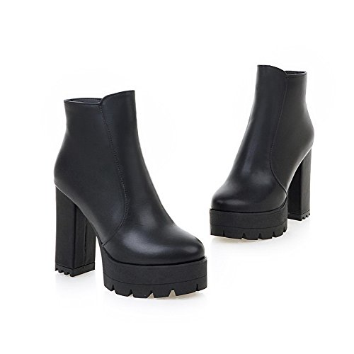 Zipper Heels Ladies Black Platform Chunky AdeeSu Leather Boots Oily FgIqOdx
