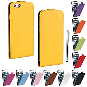 DD Genuine PU Cowhide Leather Magnetic Flip Wallet Case Cover Jacket for iPhone 6 Plus(Assorted Colors) , Yellow