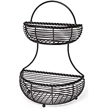 Gourmet Basics by Mikasa 5153170 Rope 2-Tier Flatback Metal Storage Basket, Antique Black