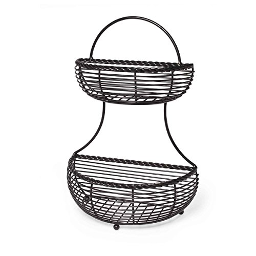 (Gourmet Basics by Mikasa 5153170 2-Tier Flatback Metal Storage Basket, Rope)
