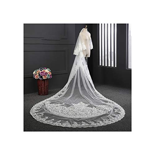 Cathedral Wedding Collection Real Images Metal Metal Comb Lace Edge Accessories,White,350Cm ()