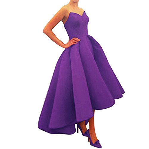 Xoemir High Low Purple Wedding Reception Dress for Mother of the Bride, 12