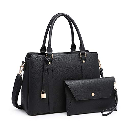 Women Handbags, Large Designer Lady Satchel Multi-Pockets Shoulder Bag Fashion Tote w/ Wallet Set (8011-BK/BK)