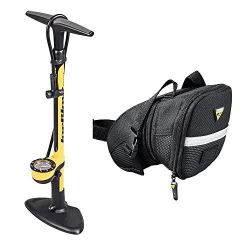 (Topeak Joe Blow Sport III High Pressure Bike Floor Pump and Elite Water Bottle Cage Kit)