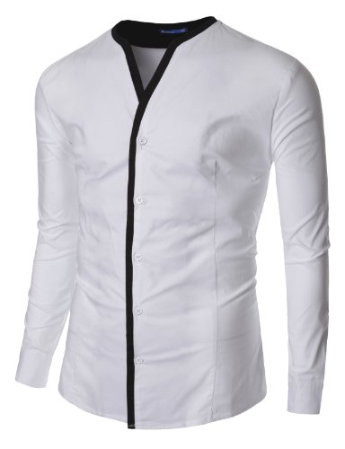 Doublju Mens No Collar Layered shirtss  WHITE (US-M)