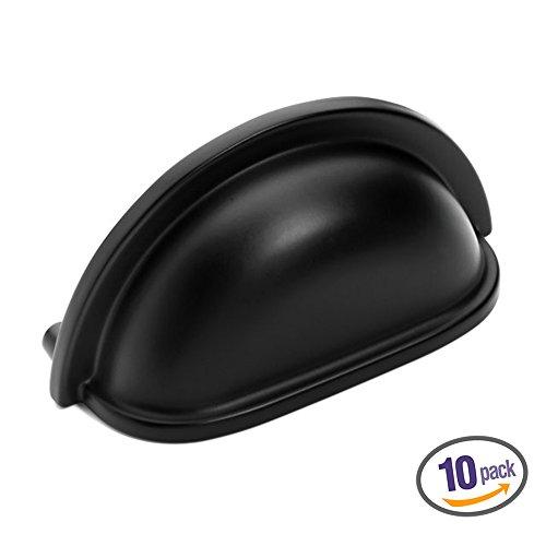 Dynasty Flat Cup - Dynasty Hardware P-2769-FB-10PK Flat Black Cabinet Hardware Bin Pull, 10-Pack