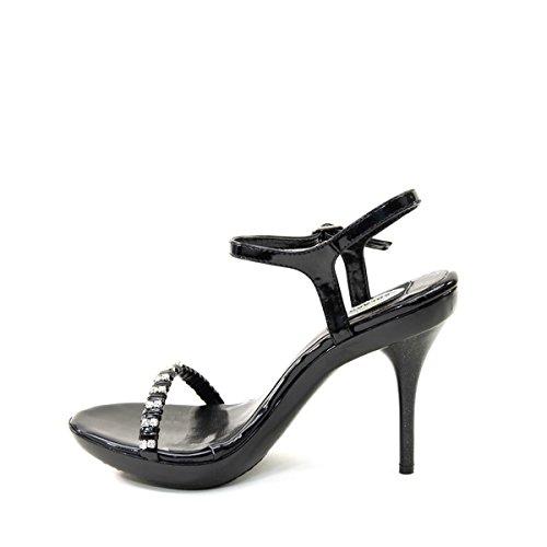 Brand New Lady Tobillo Strap Rhinstones Plataforma Stiletto Pump Shoe Noreen Negro (10)