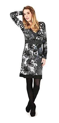 #4274 Aller Simplement Damen Kleid Patchwork Etuikleid langarm Longshirt Winter Tunika Schwarz Grau