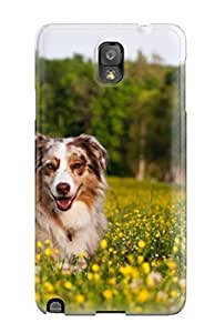Defender Case For Galaxy Note 3, Happy Dog Between The Flowers Pattern