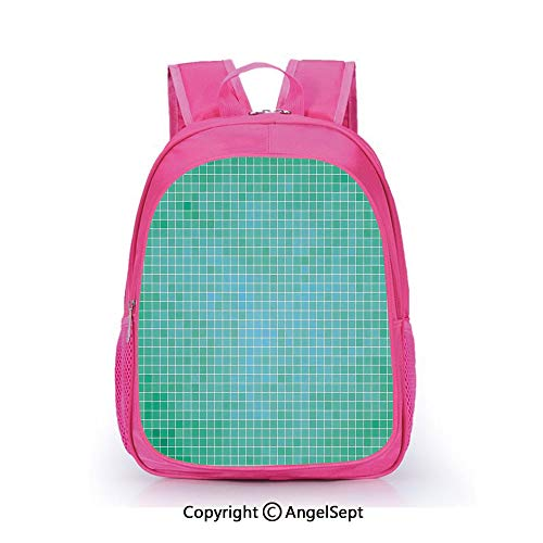 Hot Sale Backpack Casual Daypack,Square Pixel Mosaic Pattern Simple Modern Contemporary Decorative Illustration Print Green,15.7inch,Travel Outdoor Backpack For Boys And Girls
